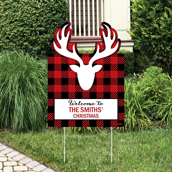 Prancing Plaid - Party Decorations - Christmas & Holiday Buffalo Plaid Party Personalized Welcome Yard Sign
