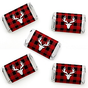 Prancing Plaid - Mini Candy Bar Wrapper Stickers - Reindeer Holiday and Christmas Party Small Favors - 40 Count