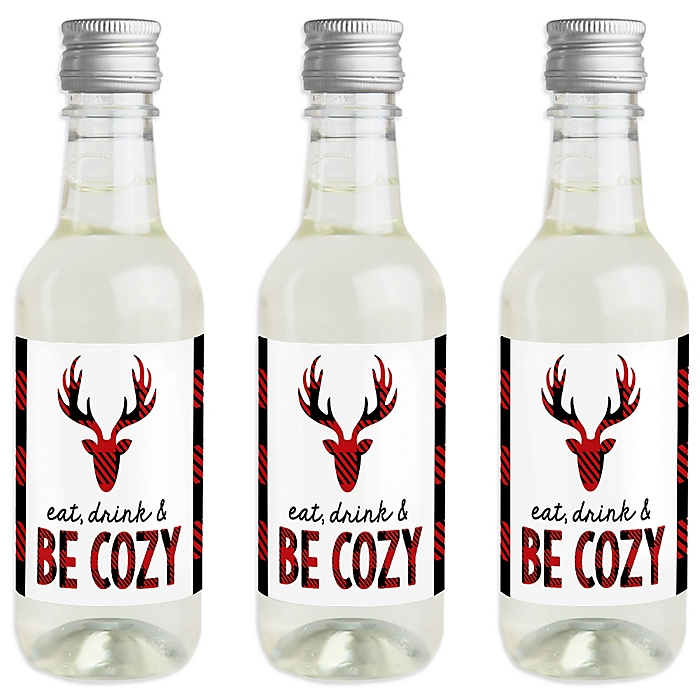 Prancing Plaid - Mini Wine and Champagne Bottle Label Stickers - Reindeer Holiday & Christmas Party Favor Gift - For Women and Men - Set of 16