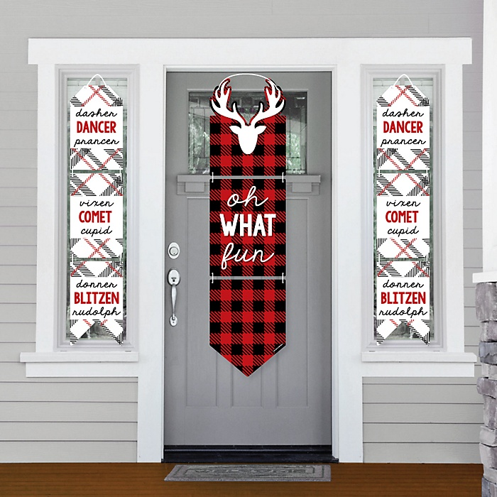 Prancing Plaid - Hanging Porch Front Door Signs - Reindeer Holiday and Christmas Party Banner Decoration Kit - Outdoor Door Decor
