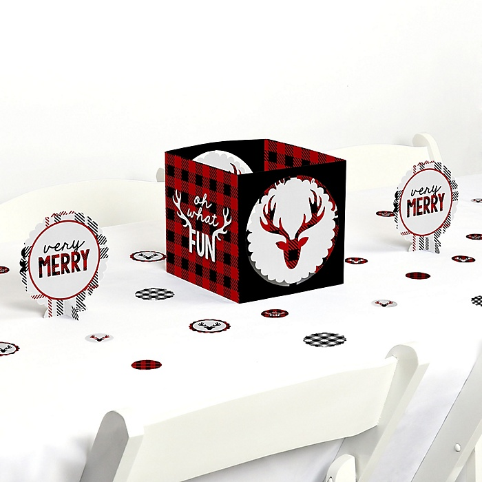Prancing Plaid - Reindeer Holiday and Christmas Party Centerpiece and Table Decoration Kit