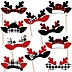 Prancing Plaid Reindeer Antlers Headpieces - Paper Card Stock Reindeer Holiday and Christmas Party Photo Booth Props Kit - 10 Count