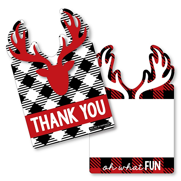 Prancing Plaid  - Shaped Thank You Cards - Reindeer Holiday and Christmas Party Thank You Note Cards with Envelopes - Set of 12