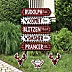 Prancing Plaid Street Sign Cutouts - Reindeer Holiday and Christmas Party Yard Signs & Decorations - Set of 8