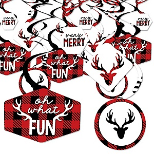 Prancing Plaid - Reindeer Holiday and Christmas Party Hanging Decor - Party Decoration Swirls - Set of 40