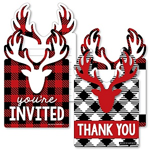 Prancing Plaid - 20 Shaped Fill-In Invitations and 20 Shaped Thank You Cards Kit - Reindeer Holiday and Christmas Party Stationery Kit - 40 Pack