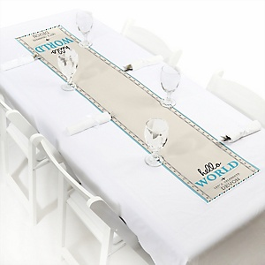 Precious Cargo - Blue - Personalized Baby Shower Petite Table Runner