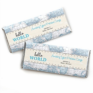 Precious Cargo - Blue - Personalized Candy Bar Wrappers Baby Shower Favors - Set of 24