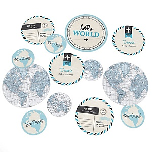 Precious Cargo - Blue - Personalized Baby Shower Giant Circle Confetti - Boy Baby Shower Decorations - Large Confetti 27 Count