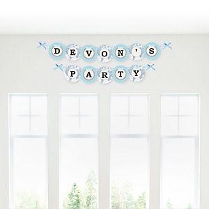 Precious Cargo - Blue - Personalized Baby Shower Garland Letter Banners