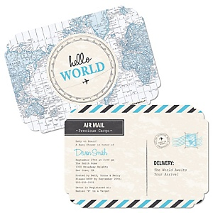 Precious Cargo - Blue - Shaped Baby Shower Invitations - Set of 12