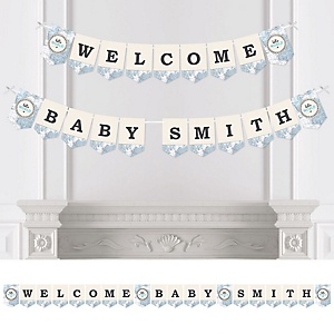 Precious Cargo - Blue - Personalized Baby Shower Bunting Banner & Decorations