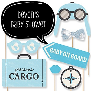 Precious Cargo - Blue - Baby Shower Photo Booth Props Kit - 20 Props