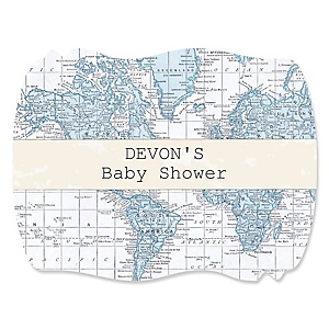 Precious Cargo - Blue - Personalized Baby Shower Squiggle Stickers - 16 ct