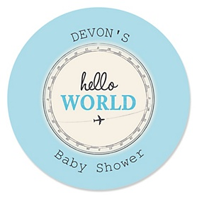 Precious Cargo - Blue - Personalized Baby Shower Sticker Labels - 24 ct