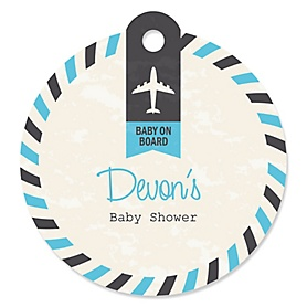 Precious Cargo - Blue - Round Personalized Baby Shower Tags - 20 ct
