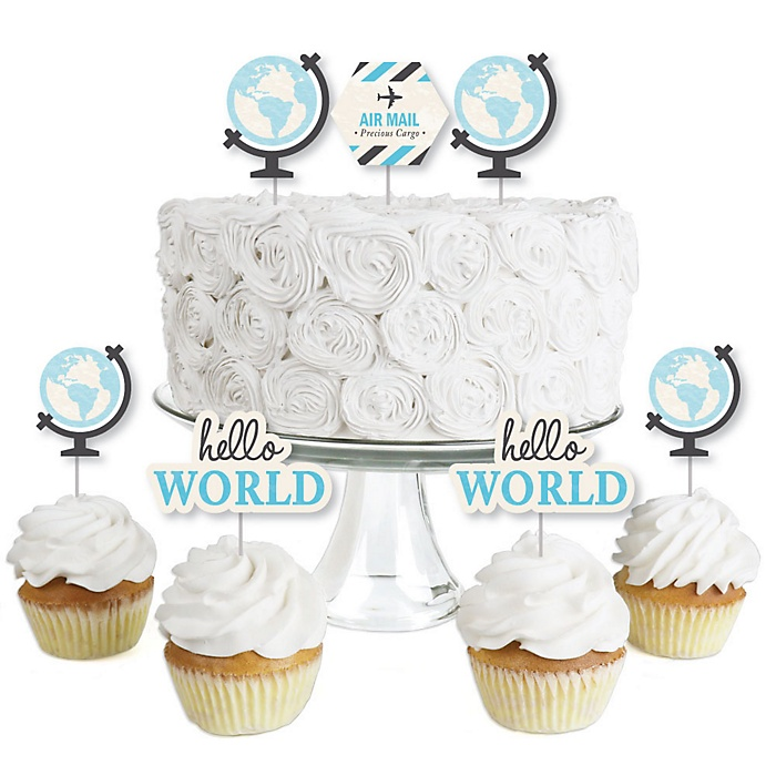 Precious Cargo - Blue - Dessert Cupcake Toppers - Baby Shower or Birthday Party Clear Treat Picks - Set of 24