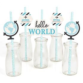 Precious Cargo - Blue - Paper Straw Decor - Baby Shower Striped Decorative Straws - Set of 24