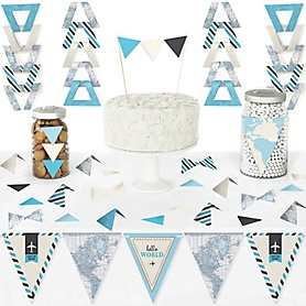 Precious Cargo - Blue - DIY Pennant Banner Decorations - Boy Baby Shower Triangle Kit - 99 Pieces