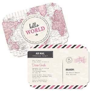 Precious Cargo - Pink - Shaped Baby Shower Invitations - Set of 12
