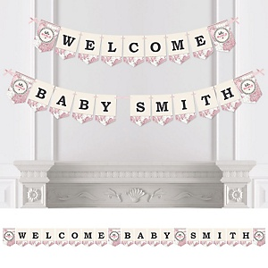 Precious Cargo - Pink - Personalized Baby Shower Bunting Banner & Decorations