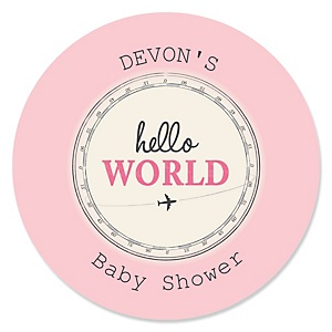 Precious Cargo - Pink - Personalized Baby Shower Sticker Labels - 24 ct