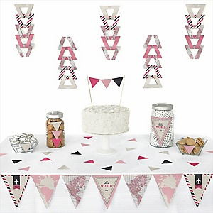 Precious Cargo - Pink -  Triangle Baby Shower Decoration Kit - 72 Piece