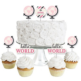Precious Cargo - Pink - Dessert Cupcake Toppers - Baby Shower or Birthday Party Clear Treat Picks - Set of 24
