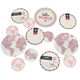 Precious Cargo - Pink - Baby Shower Giant Circle Confetti - Girl Baby Shower Decorations - Large Confetti 27 Count