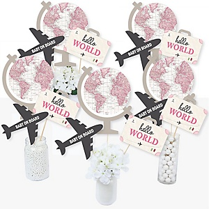 Precious Cargo - Pink - Girl Baby Shower Centerpiece Sticks - Table Toppers - Set of 15