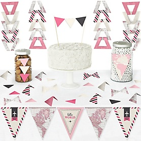 Precious Cargo - Pink - DIY Pennant Banner Decorations - Girl Baby Shower Triangle Kit - 99 Pieces