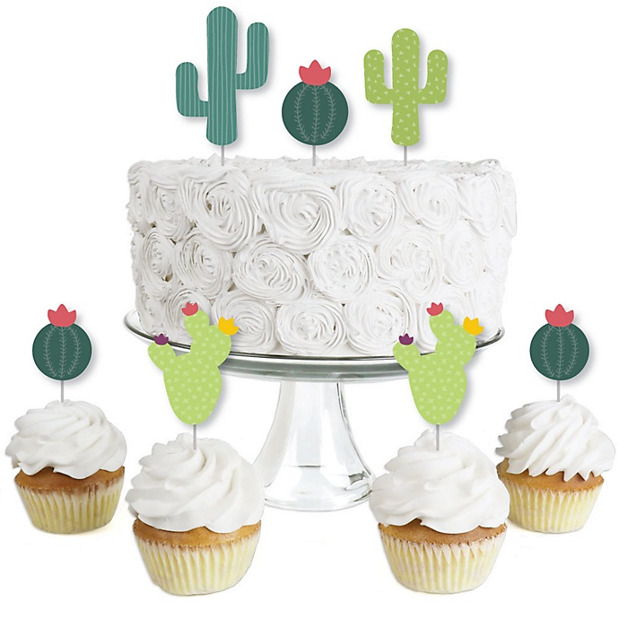 Prickly Cactus Party - Dessert Cupcake Toppers - Fiesta Party or Fiesta Birthday Party Clear Treat Picks - Set of 24