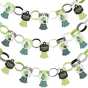 Prickly Cactus Party - 90 Chain Links and 30 Paper Tassels Decoration Kit - Fiesta Party Paper Chains Garland - 21 feet
