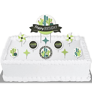 Prickly Cactus Party - Fiesta Birthday Party Cake Decorating Kit - Happy Birthday Cake Topper Set - 11 Pieces