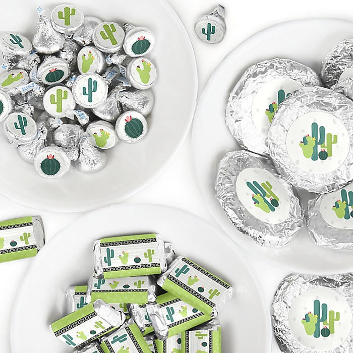 Prickly Cactus Party - Mini Candy Bar Wrappers, Round Candy Stickers and Circle Stickers - Fiesta Party Candy Favor Sticker Kit - 304 Pieces