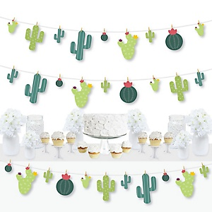Prickly Cactus Party - Fiesta Party DIY Decorations - Clothespin Garland Banner - 44 Pieces