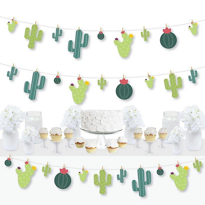 Prickly Cactus Party - Fiesta Party DIY Decorations - Clothespin Garland Banner - 44 Pieces