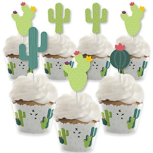 Prickly Cactus Party - Cupcake Decorations - Fiesta Party or Fiesta Birthday Party Cupcake Wrappers and Treat Picks Kit - Set of 24