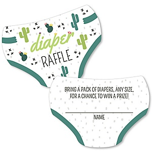 Prickly Cactus Party - Diaper Shaped Raffle Ticket Inserts - Fiesta Baby Shower Activities - Diaper Raffle Game - Set of 24