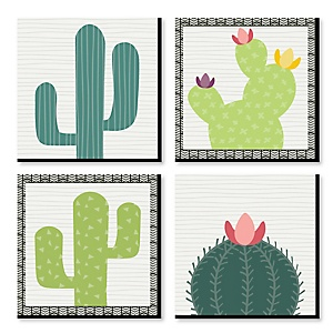 Prickly Cactus Party - Kids Room and Home Decor - 11 x 11 inches Wall Art - Set of 4 Prints for Home Decorations