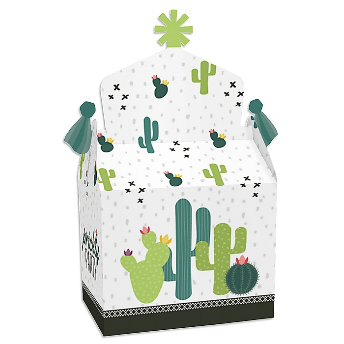 Prickly Cactus Party - Treat Box Party Favors - Fiesta Party Goodie Gable Boxes - Set of 12