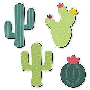 Prickly Cactus Party - Nursery, Kids Room and Fiesta Home Decorations - Shaped Wall Art - 4 Piece