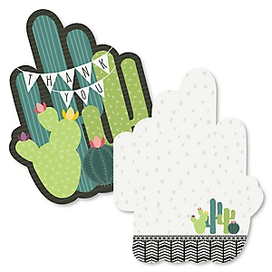 Prickly Cactus Party - Shaped Thank You Cards - Fiesta Party Thank You Note Cards with Envelopes - Set of 12