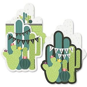 Prickly Cactus Party - 20 Shaped Fill-In Invitations and 20 Shaped Thank You Cards Kit - Fiesta Party Stationery Kit - 40 Pack