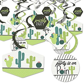 Prickly Cactus Party - Fiesta Party Hanging Decor - Party Decoration Swirls - Set of 40