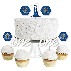 1st Birthday Royal Prince Charming - Dessert Cupcake Toppers - First Birthday Party Clear Treat Picks - Set of 24