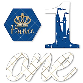 1st Birthday Royal Prince Charming - DIY Shaped First Birthday Party Cut-Outs - 24 ct