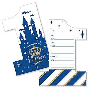 1st Birthday Royal Prince Charming - Shaped Fill-In Invitations - First Birthday Party Invitation Cards with Envelopes - Set of 12
