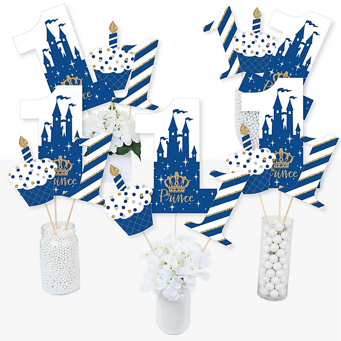 1st Birthday Royal Prince Charming - First Birthday Party Centerpiece Sticks - Table Toppers - Set of 15
