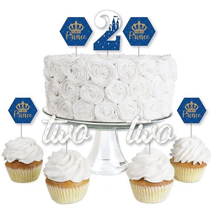 2nd Birthday Royal Prince Charming - Dessert Cupcake Toppers - Second Birthday Party Clear Treat Picks - Set of 24